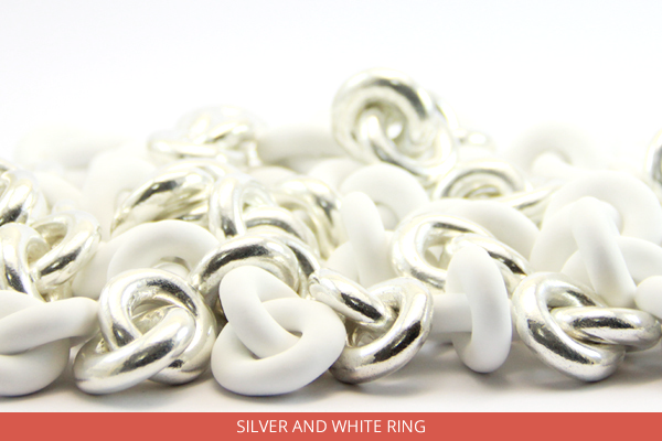 Silver and white ring - Ambrosio