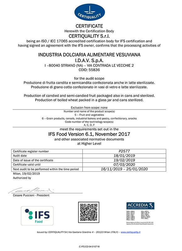 Certificazioni Ambrosio IDAV SpA